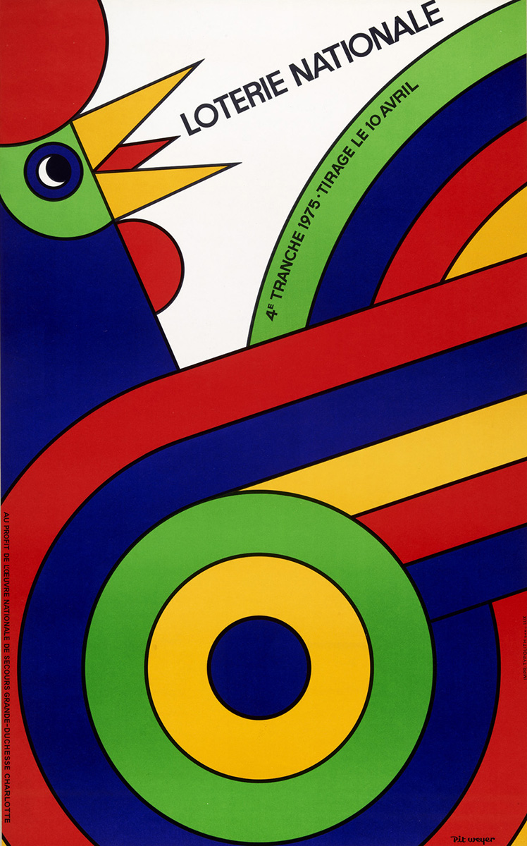 Affiche Plakat Loterie Nationale de Luxembourg Pit Weyer 1975
