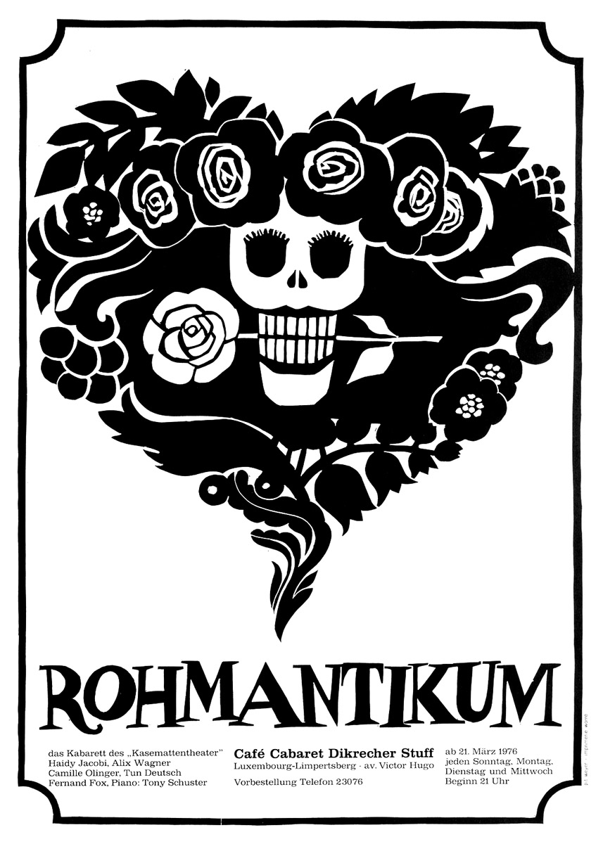 Affiche Plakat Kabarett ROHMANTIKUM 1976 Kasemattentheater théâtre des casemates - Pit Weyer