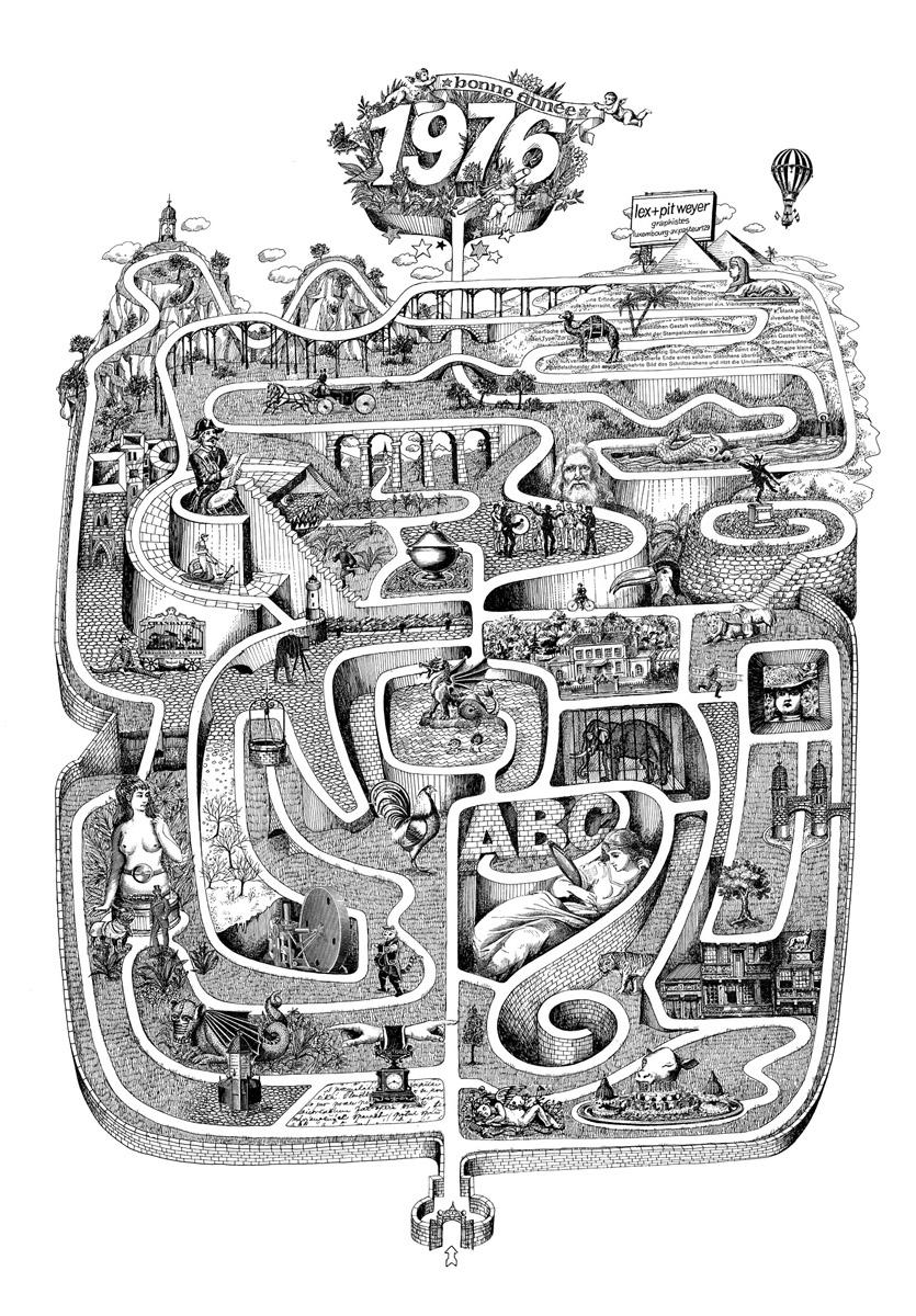 Affiche Bonne Année Neujahrsplakat 1976 Lex & Pit Weyer Illustration Pit Weyer