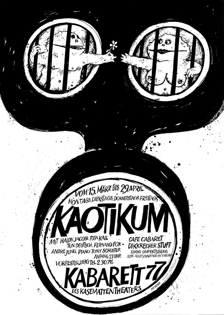 Affiche Plakat Kabarett KAOTIKUM 1977 Kasemattentheater théâtre des casemates - Pit Weyer