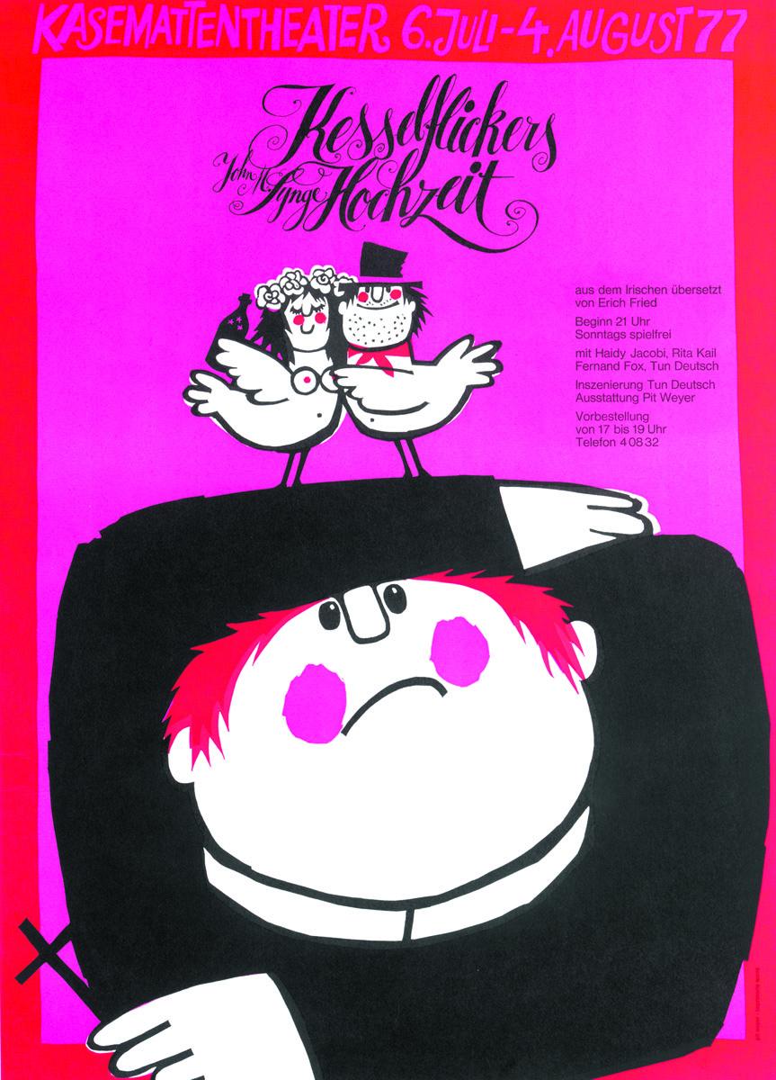 Affiche Plakat Kesselflickers Hochzeit von John M. Synge 1977Kasemattentheater théâtre des casemates - Pit Weyer