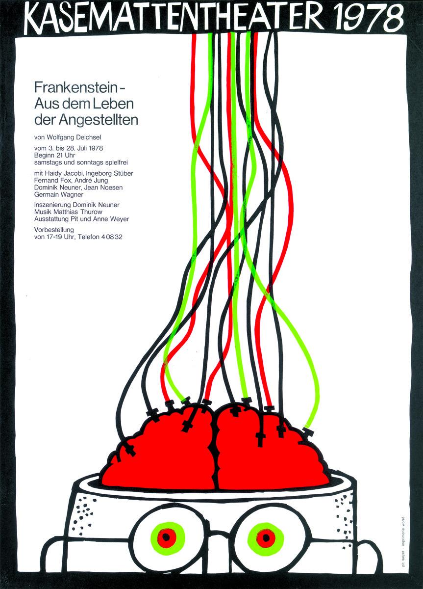 Affiche Plakat Frankenstein-Aus dem Leben eines Angestellten von Wolfgang Deichsel 1978 Kasemattentheater théâtre des casemates - Pit Weyer