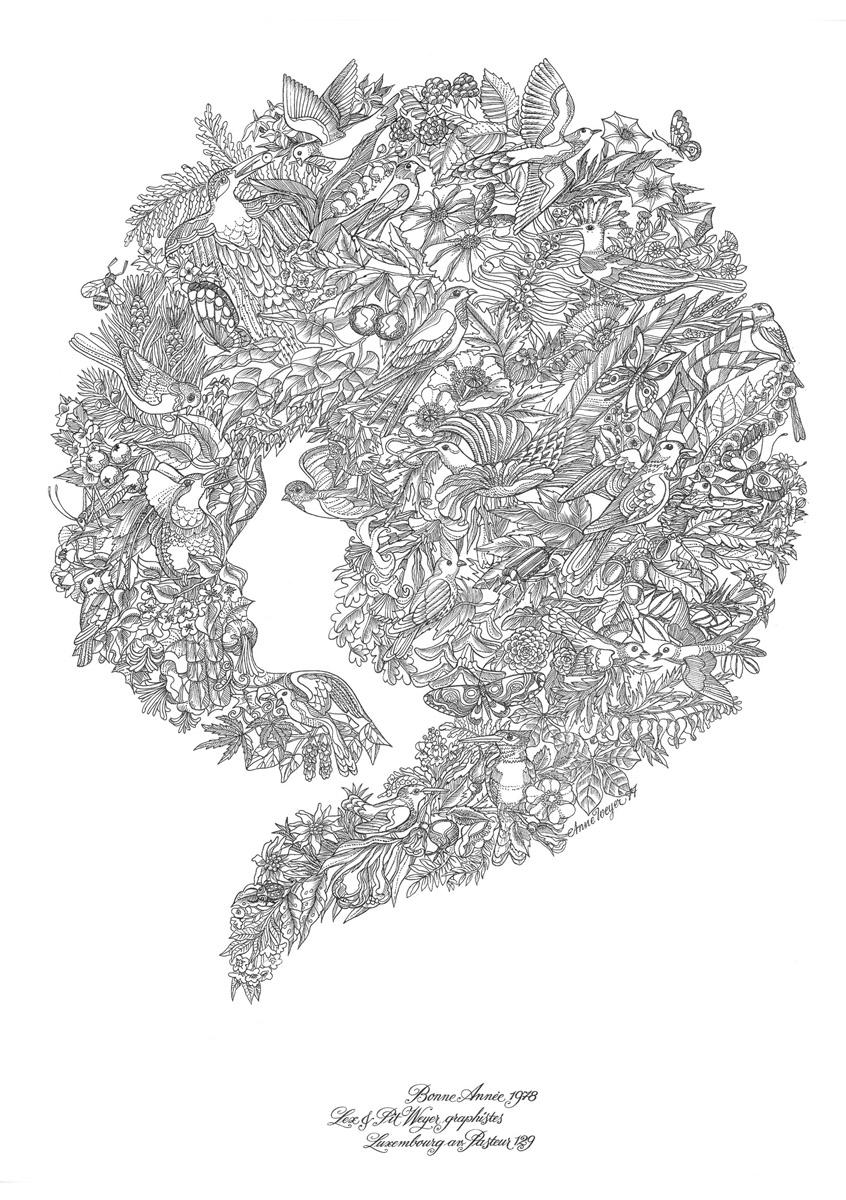 Affiche Bonne Année Neujahrsplakat 1978 Lex & Pit Weyer Illustration Anne Weyer
