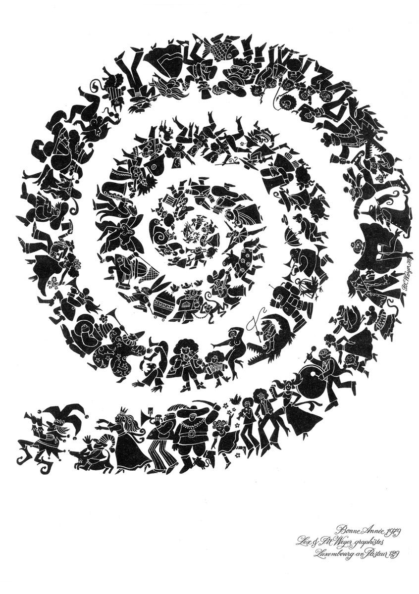Affiche Bonne Année Neujahrsplakat 1979 Lex & Pit Weyer Illustration Pit Weyer