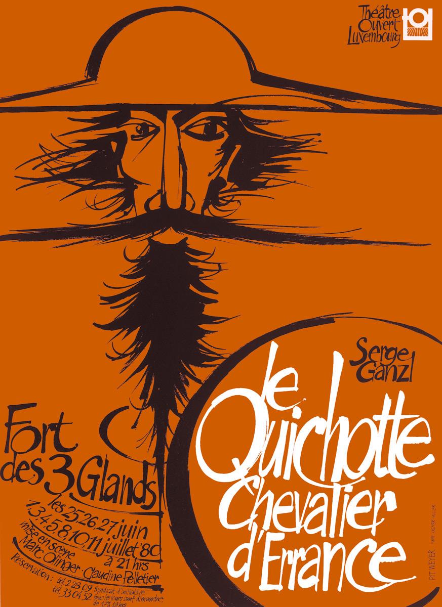 Affiche Le Quichotte de Serge Ganzl 1980 TOL théâtre ouvert luxembourg Pit Weyer