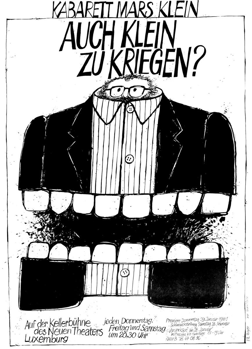 Affiche Plakat Theater-Kabarett Mars Klein 1981 Pit Weyer