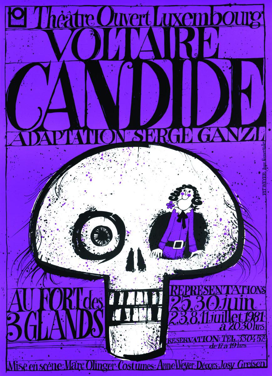 Affiche 1981 Candide de Voltaire TOL Luxembourg