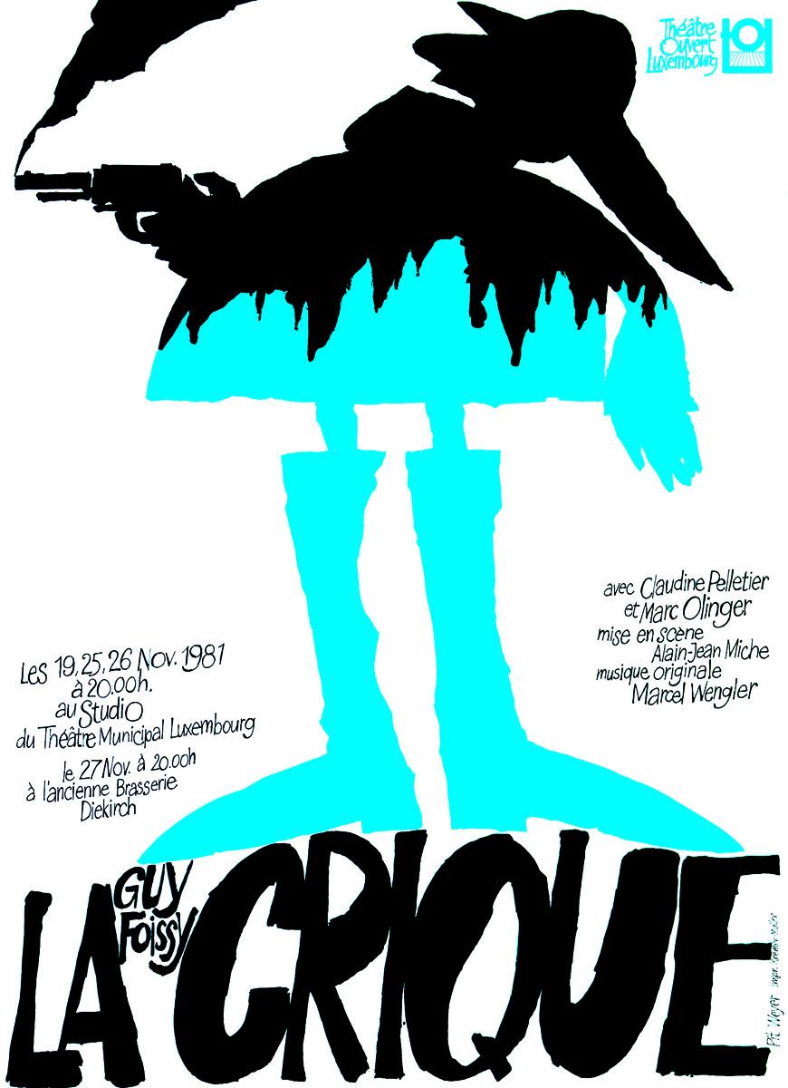 Affiche théâtre Ouvert Luxembourg La Crique 1981 Pit Weyer