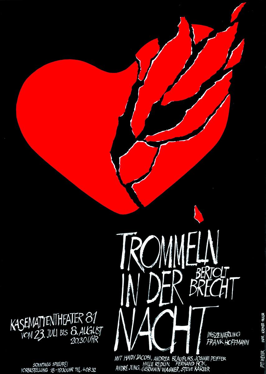Affiche Plakat 1981 Trommeln in der Nacht von Bertolt Brecht Grafiker: Pit Weyer