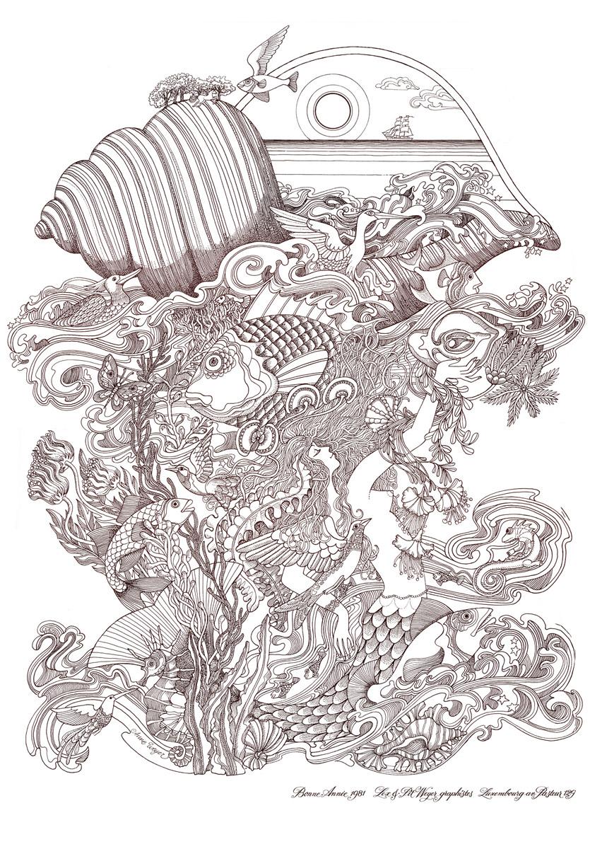 Affiche Bonne Année Neujahrsplakat 1981 Lex & Pit Weyer Illustration Anne Weyer