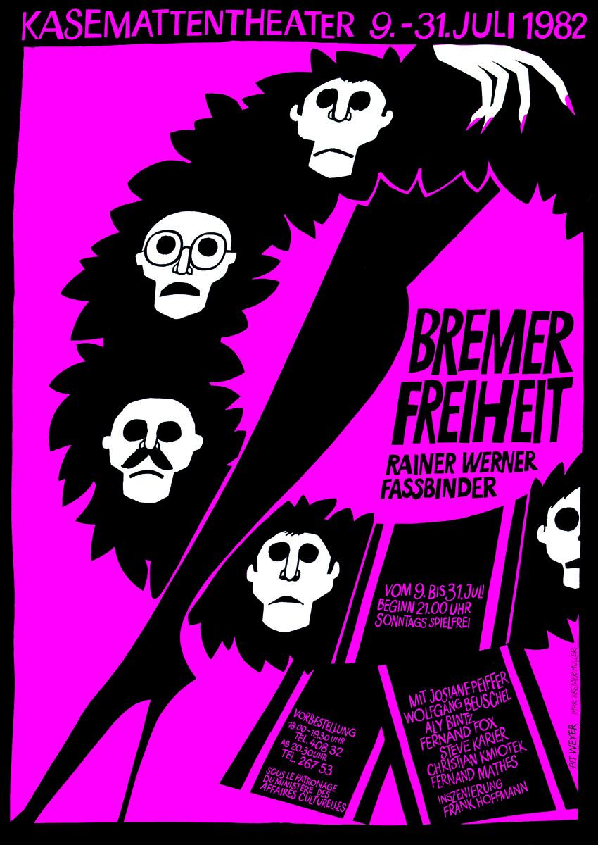 Plakat Affiche 1982 Bremer Freiheit von Rainer Werner Fassbinder Kasemattentheater Grafiker: Pit Weyer