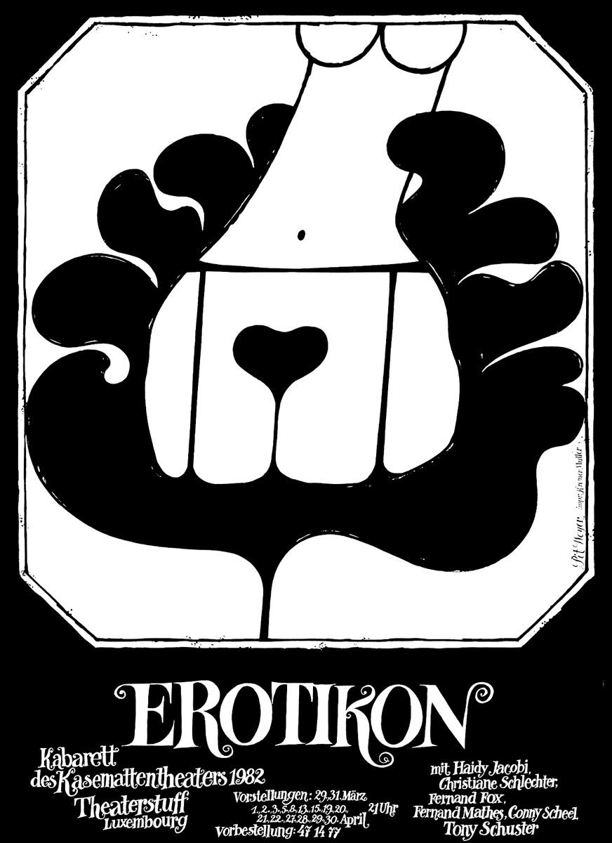 Plakat Affiche 1982 Kabarett des Kasemattentheaters EROTIKON Pit Weyer