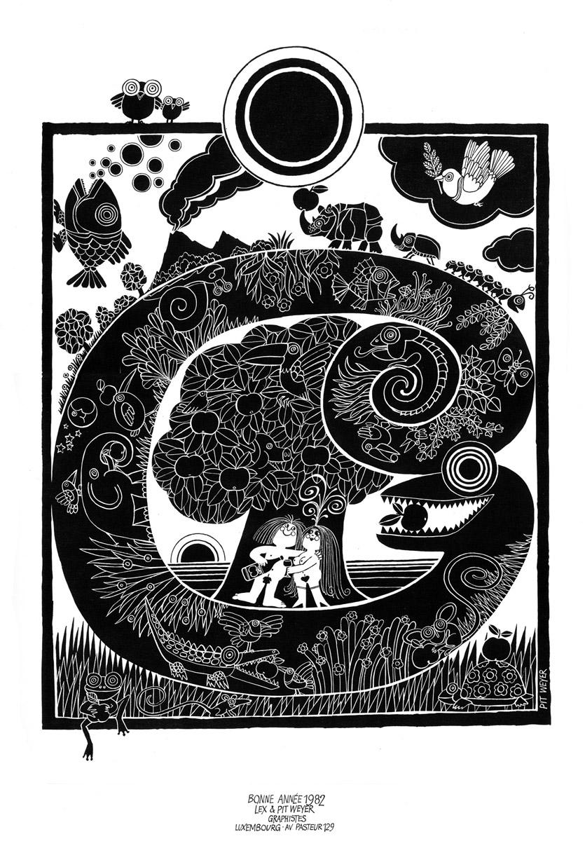 Affiche Bonne Année Neujahrsplakat 1982 Lex & Pit Weyer Illustration Pit Weyer