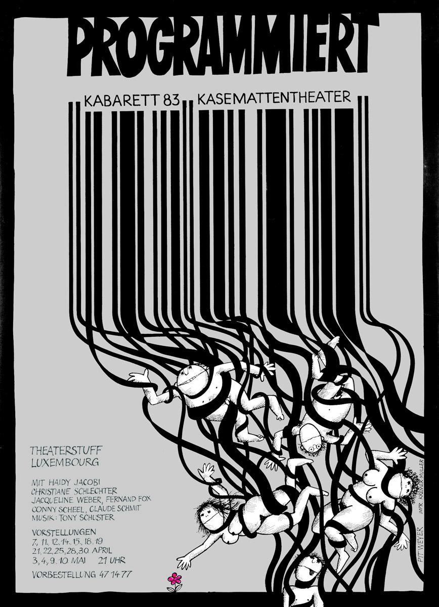 Affiche Plakat Kabarett Kasemattentheater 1983 PROGRAMMIERT Pit Weyer