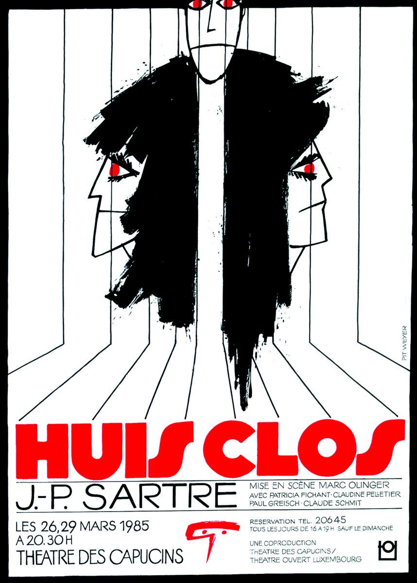 Affiche Thàâtre des Capucins 1985 JP Sartre Huis Clos - Pit Weyer