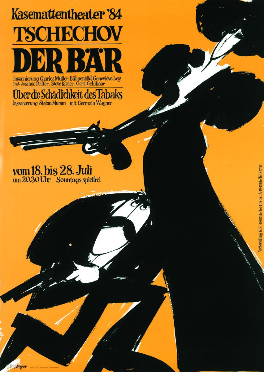 Plakat 1984 Der Baer Tschechov Pit Weyer