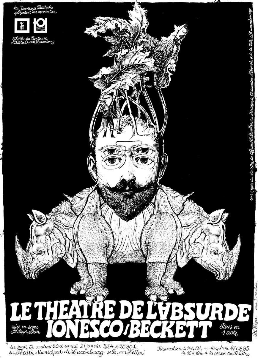 Affiche 1984 TOL et théâtre du Centaure Ionesco-Beckett Pit Weyer
