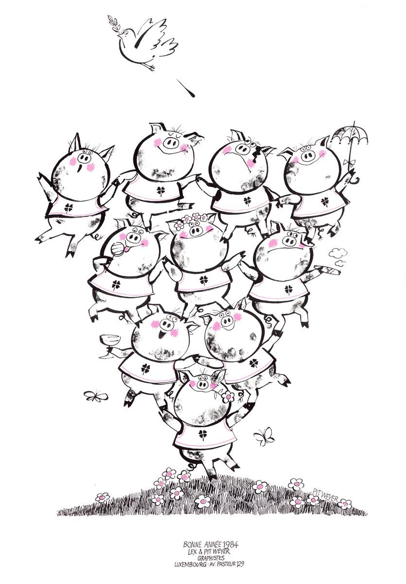Affiche Bonne Année Neujahrsplakat 1984 Lex & Pit Weyer Illustration Pit Weyer
