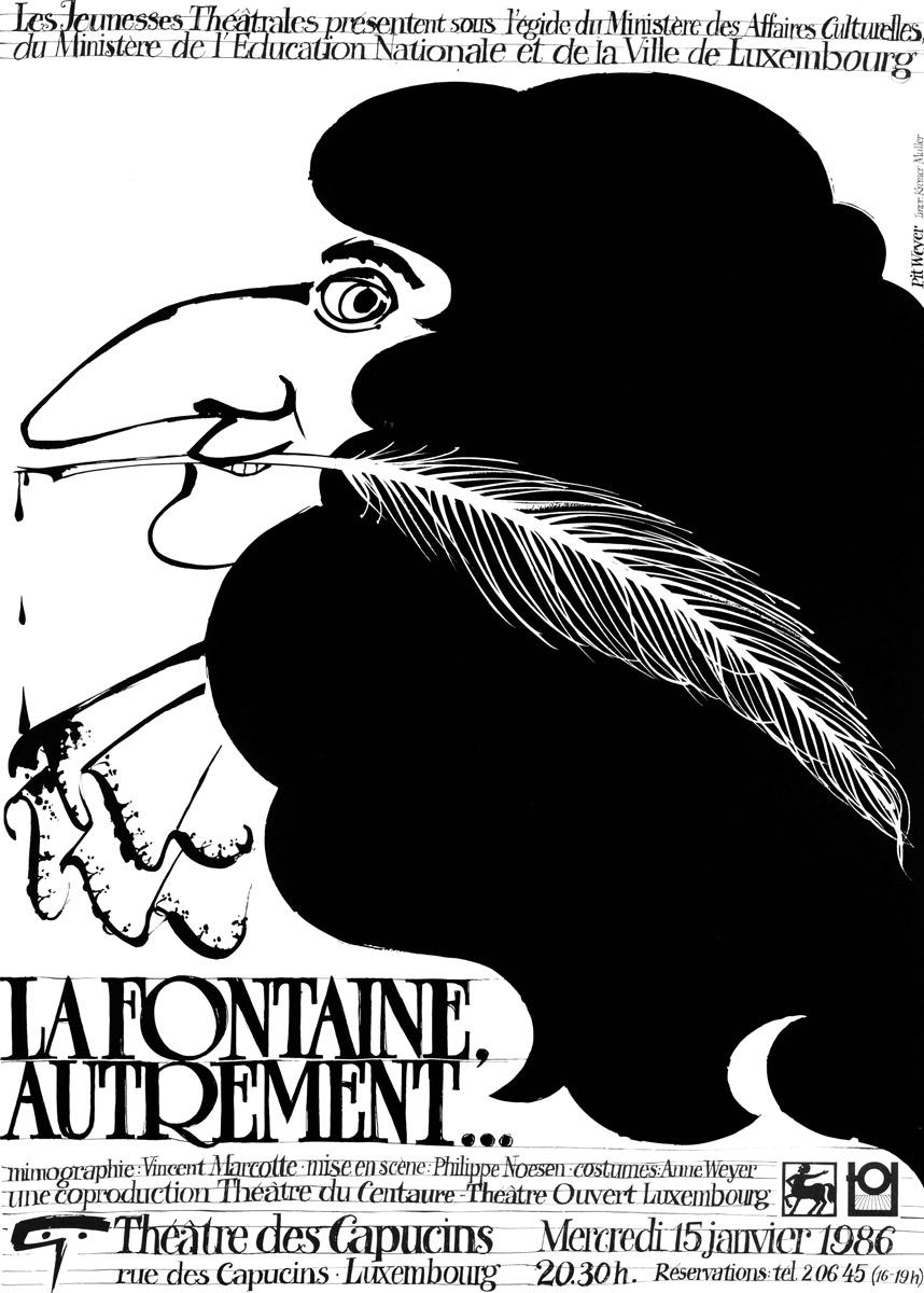 Affiche La Fontaine Aurtement Théâtre des capucins 1985 - Pit Weyer