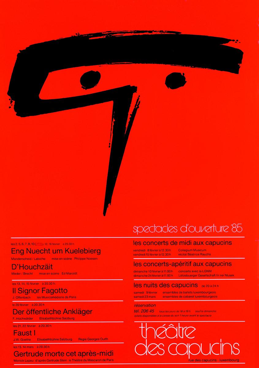 Affiche 1985 Spectacles ouverture Théâtre des capucins