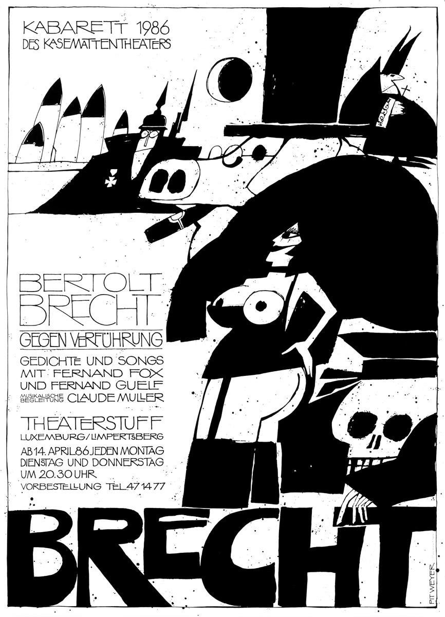 Plakat 1986 BRECHT Kabarett Kasemattentheater