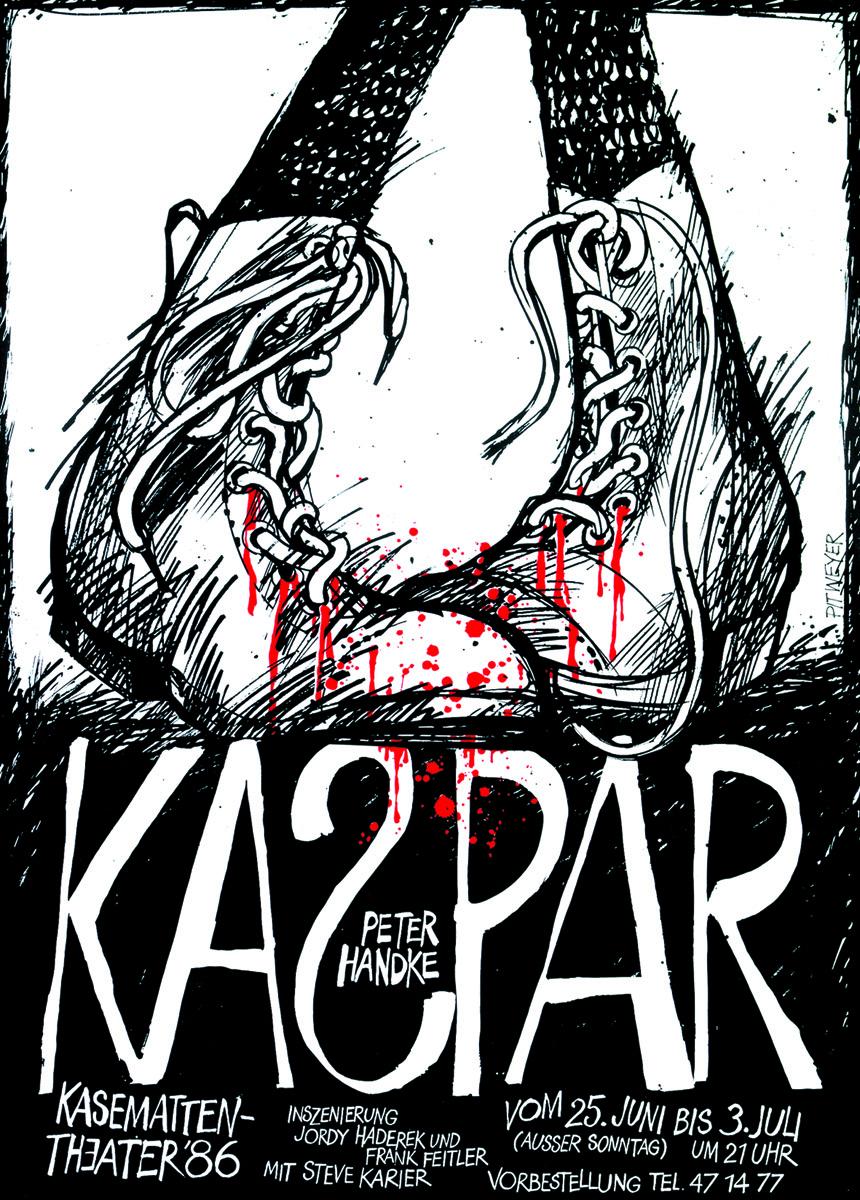 Plakat Kasemattentheater 1986 KASPAR von Peter Handke Pit Weyer