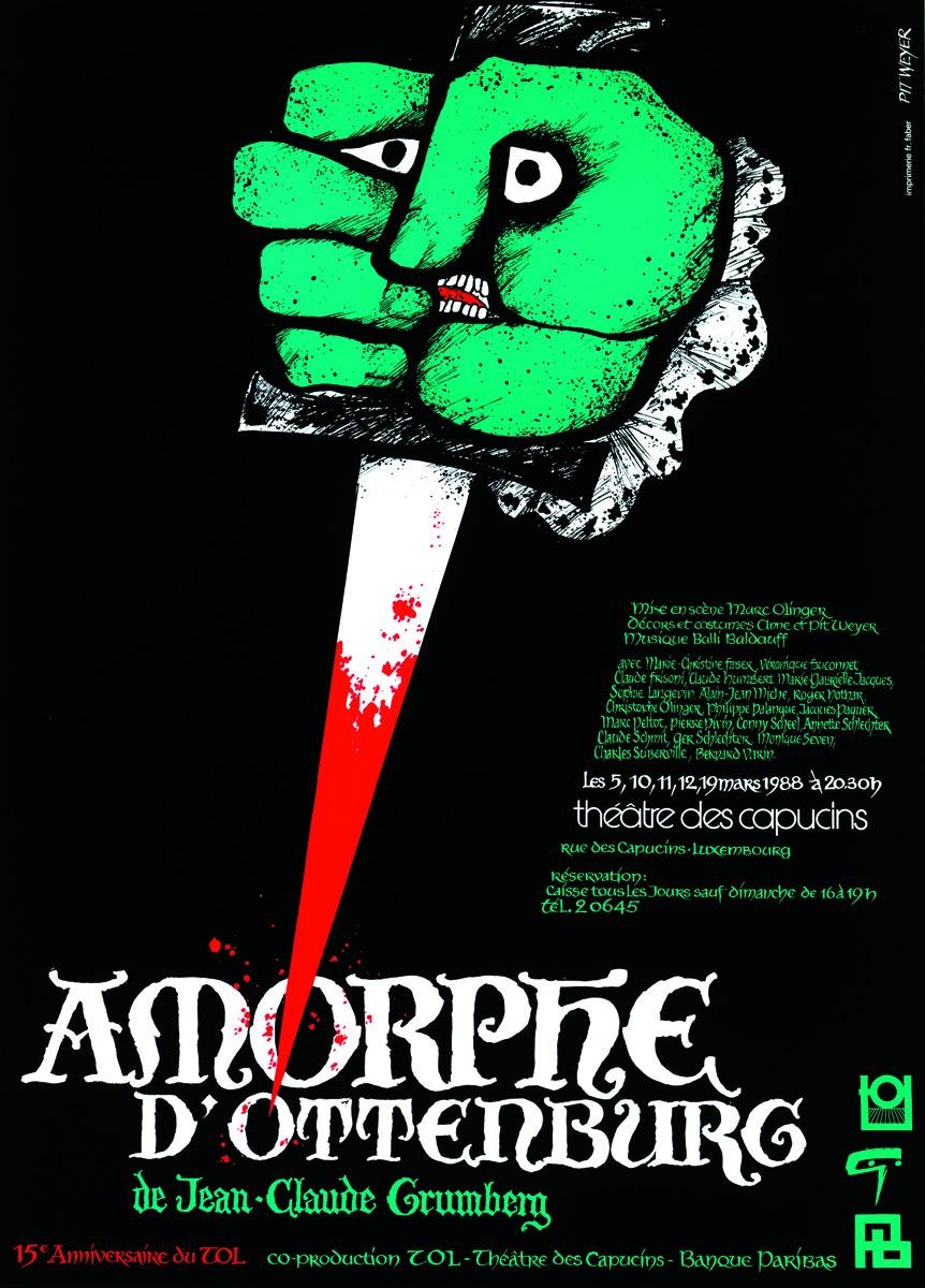 Affiche Amorphe d'Ottenburg Théâtre Ouvert Luxembourg Théâtre des Capucins 1988 Pit Weyer
