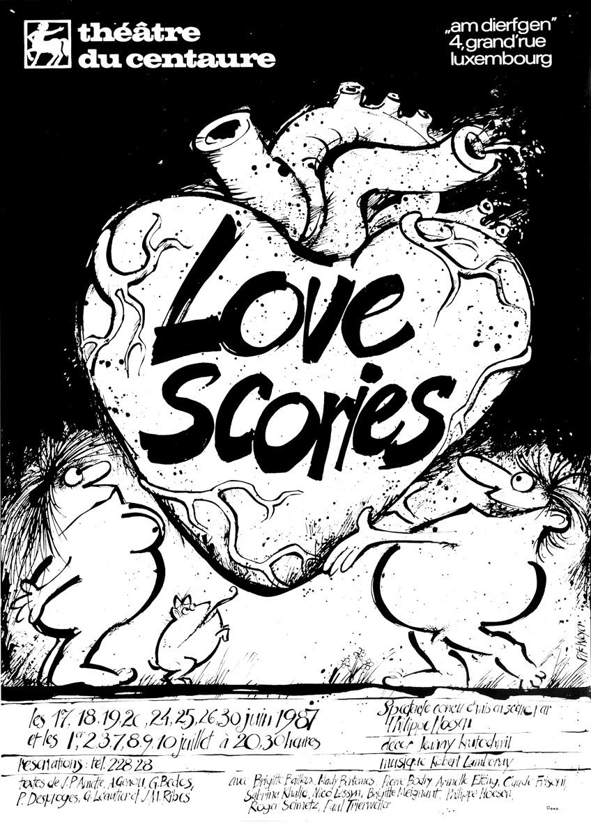Affiche Love Scories Théâtre du Centaure 1987 Pit Weyer