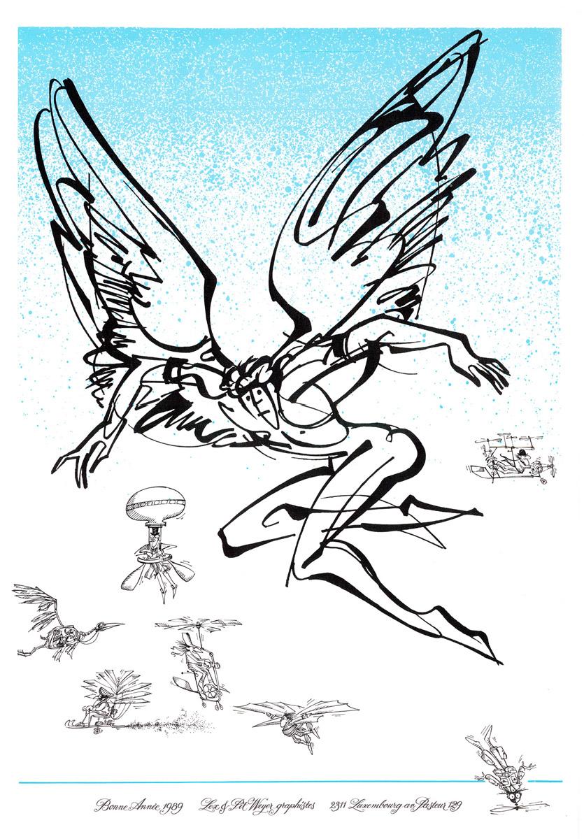Affiche Bonne Année Neujahrsplakat 1989 Lex & Pit Weyer Illustration Anne et Pit Weyer