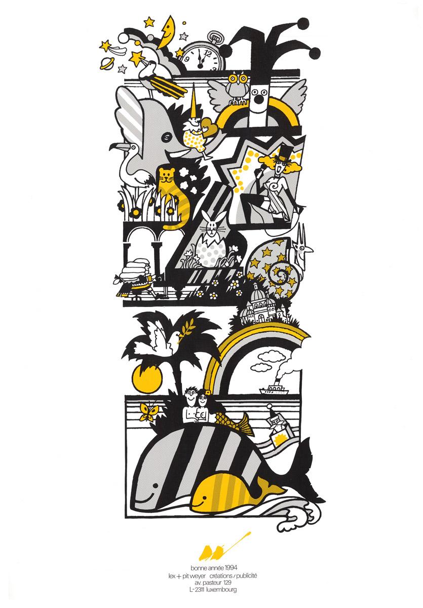 Affiche Bonne année 1994 Lex & Pit Weyer