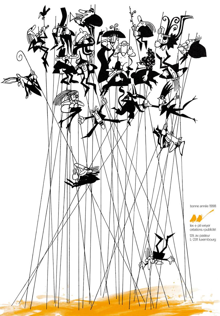 Affiche Bonne année 1998 Lex & Pit Weyer