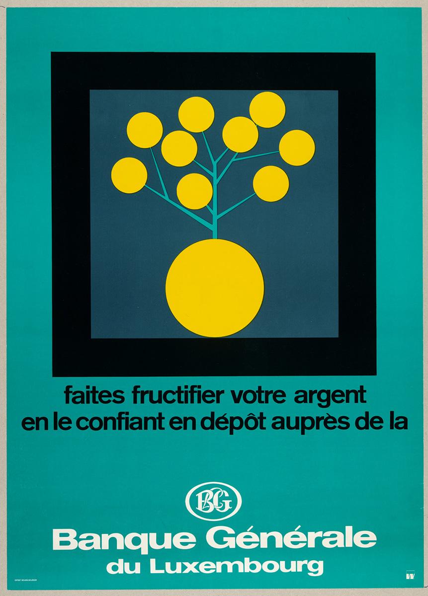 Affiche pour la Bonque Générale de Luxembourg 1960 Lex Weyer senior