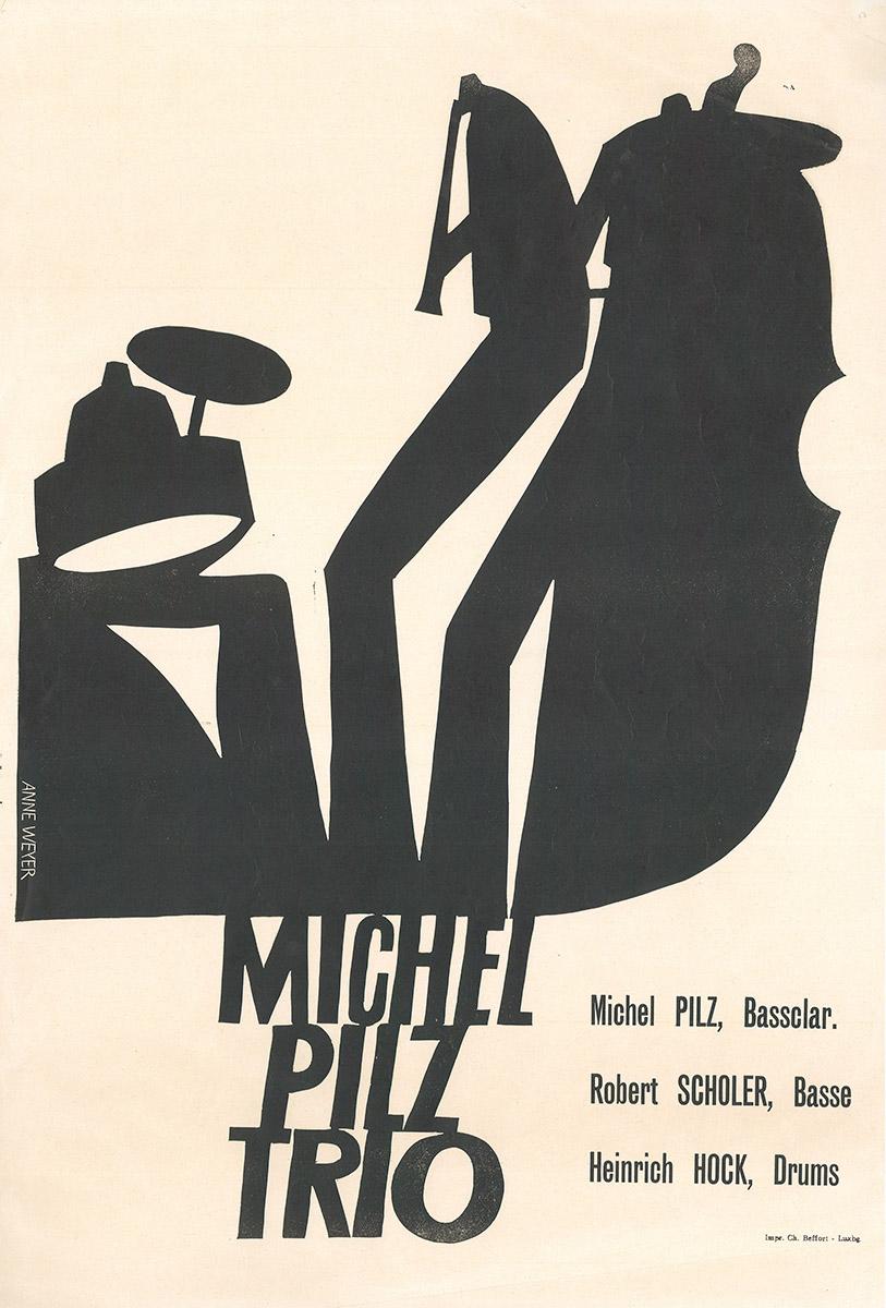 Affisch Michel Pilz Trio 1970 Anne Weyer