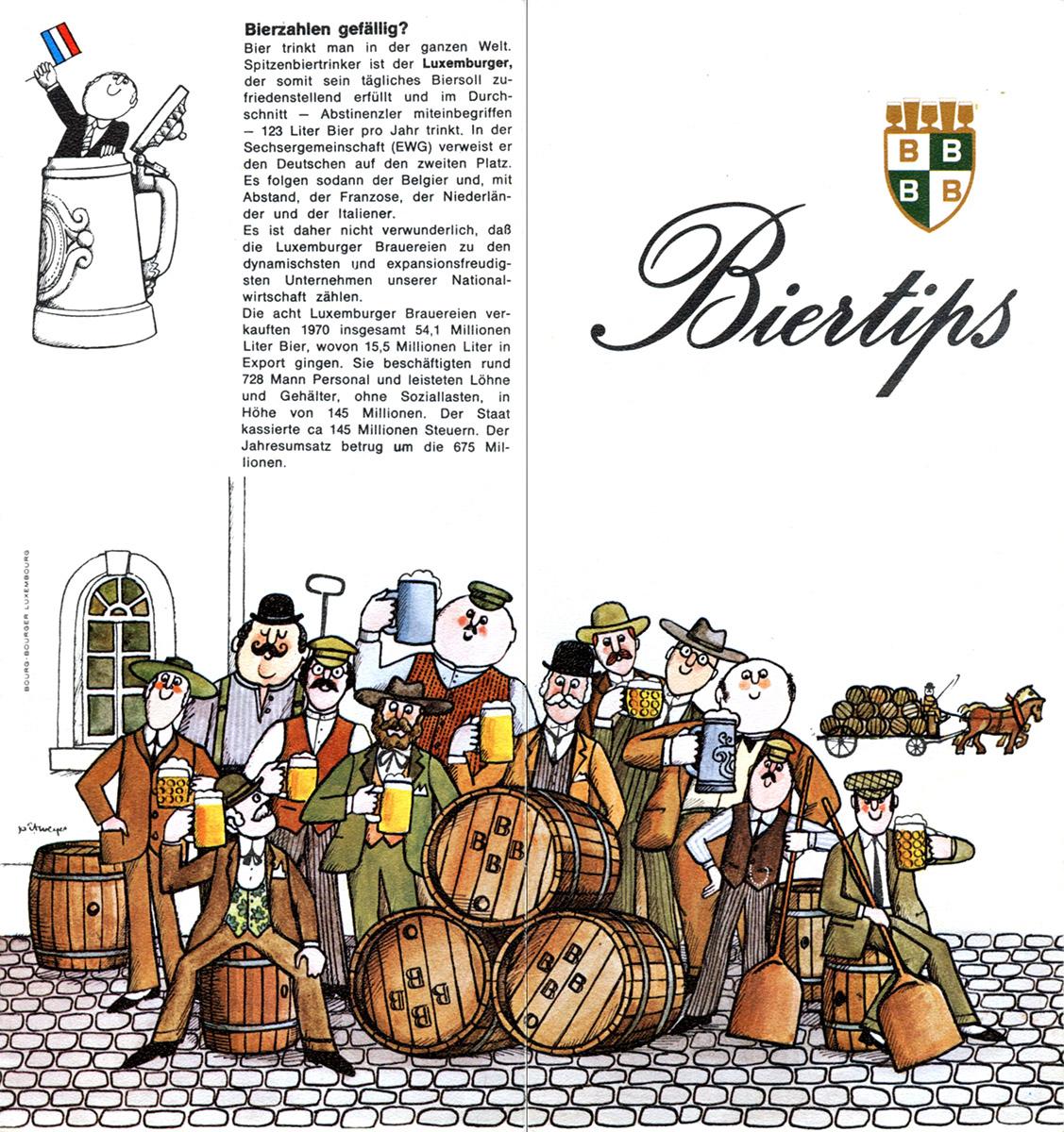 Flyer Bofferding 1973 Luxembourg illustrations Pit Weyer
