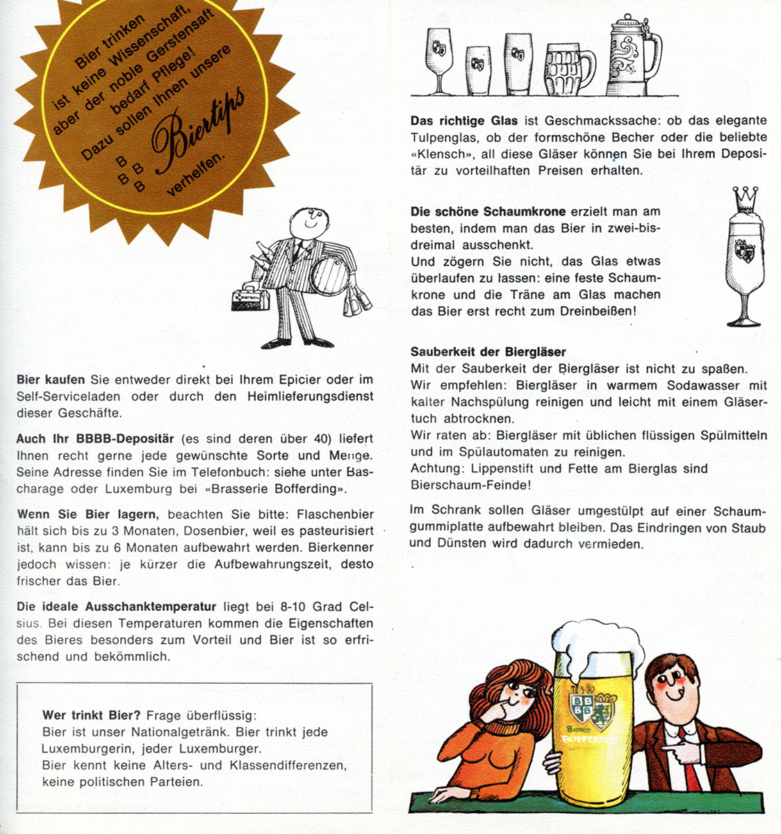 Flyer Bofferding 1973 Luxembourg illustrations Pit Weyer