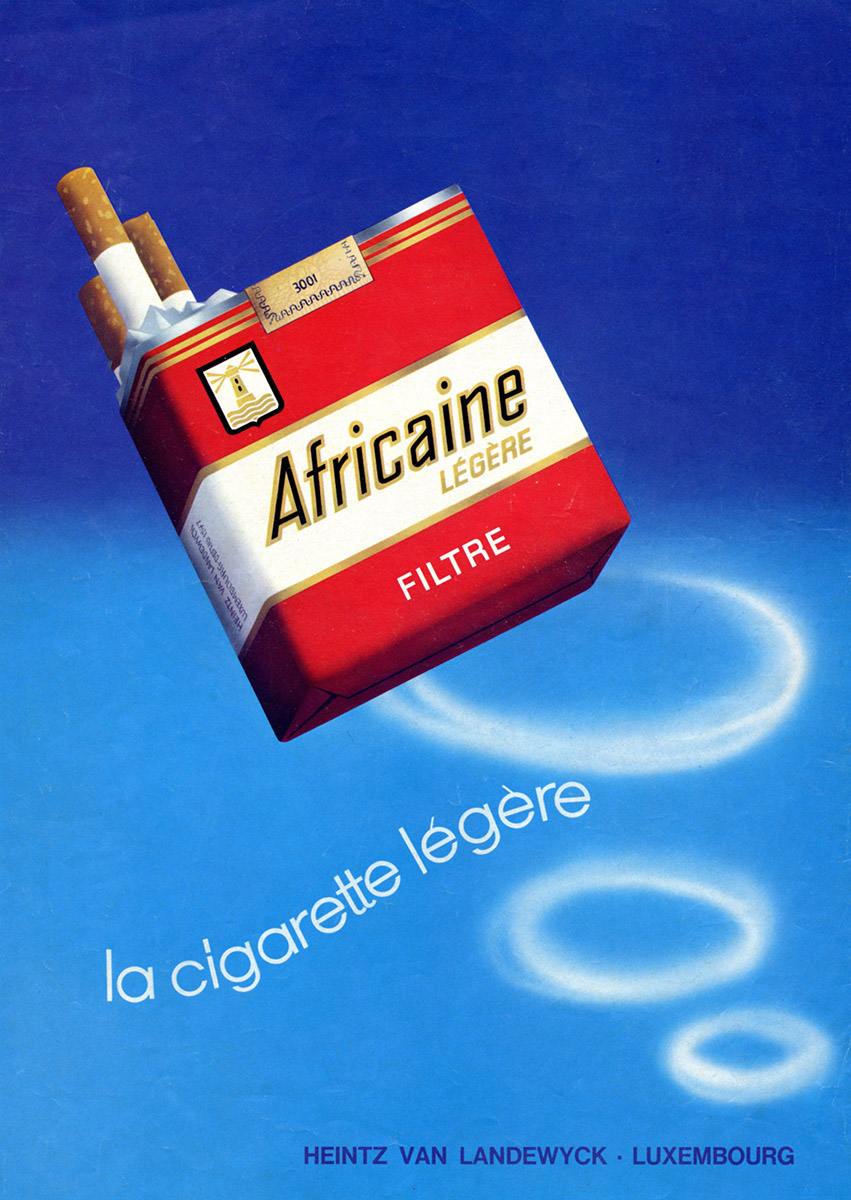 Annonce Anzeige HVL Heintz Van Landewyck Africaine Cigarettes 1972 Lex & Pit Weyer Illustration Pit Weyer