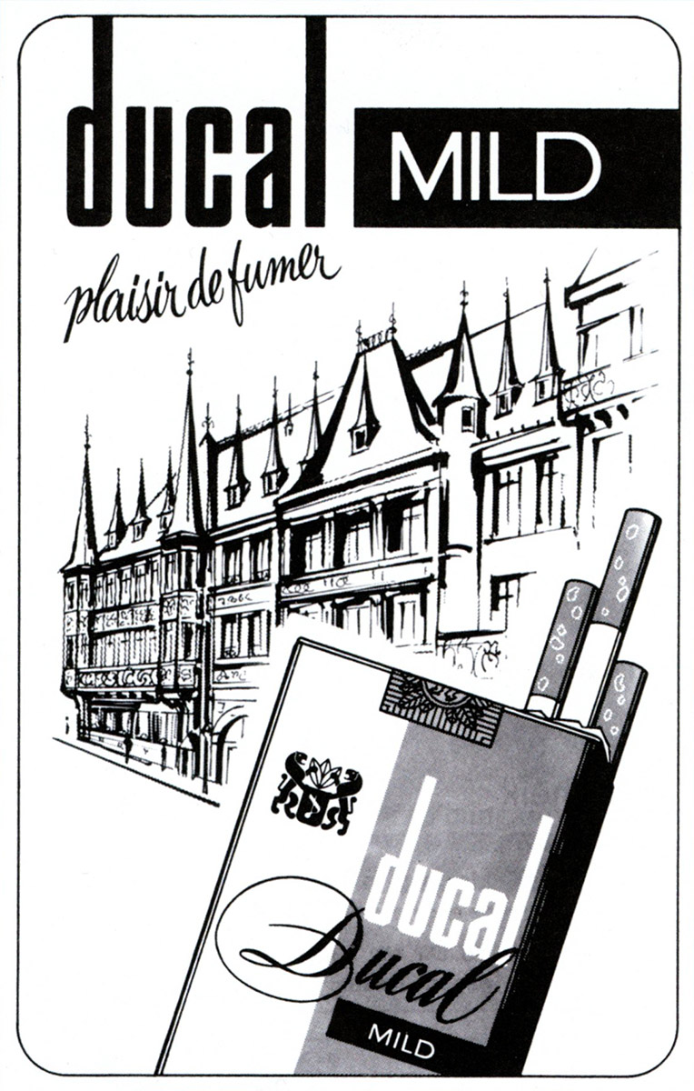 Annonce Anzeige HVL Heintz Van Landewyck DUCAL Cigarettes 1978 Lex & Pit Weyer Illustration Pit Weyer