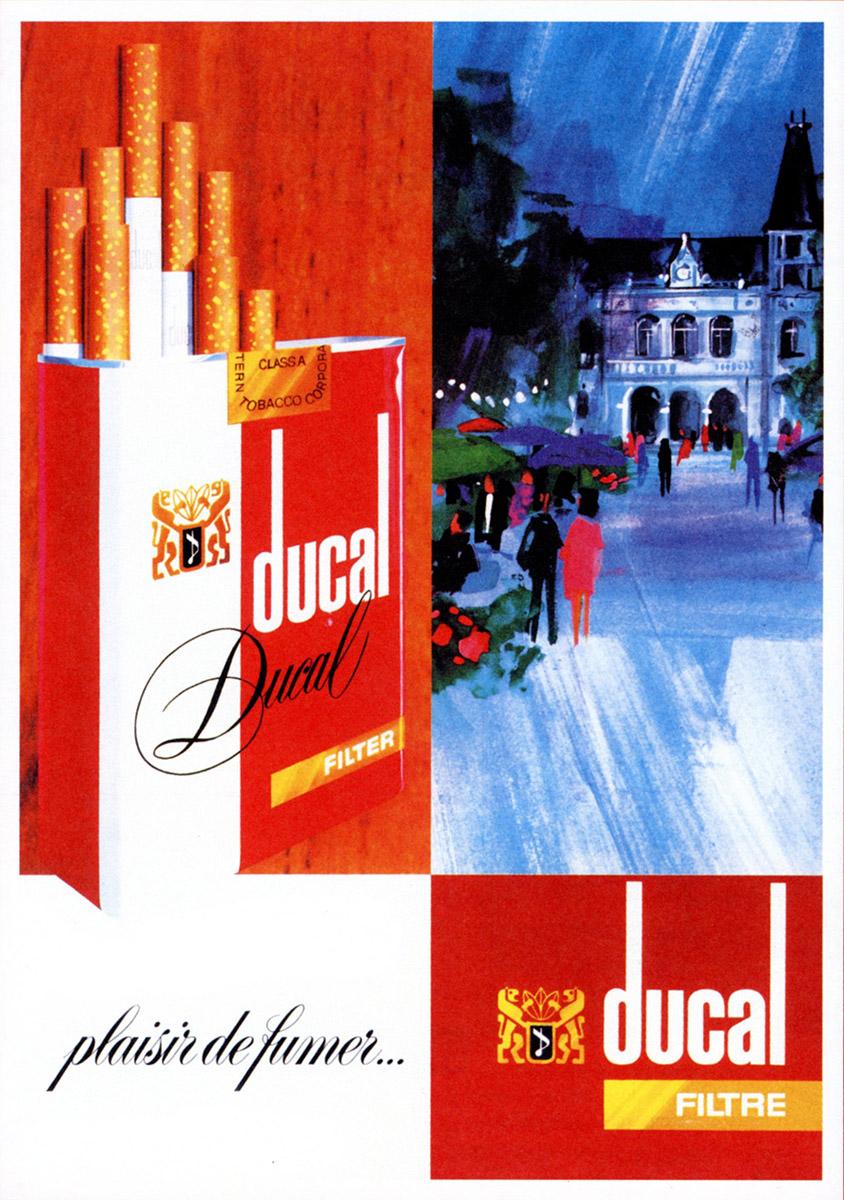 Anzeige Annonce DUCAL cigarettes Heintz Van Landewyck 1986 Lex & Pit Weyer