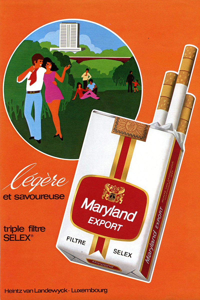 Annonce Anzeige HVL Heintz Van Landewyck Maryland Export Cigarettes 1973 Lex & Pit Weyer Illustration Pit Weyer