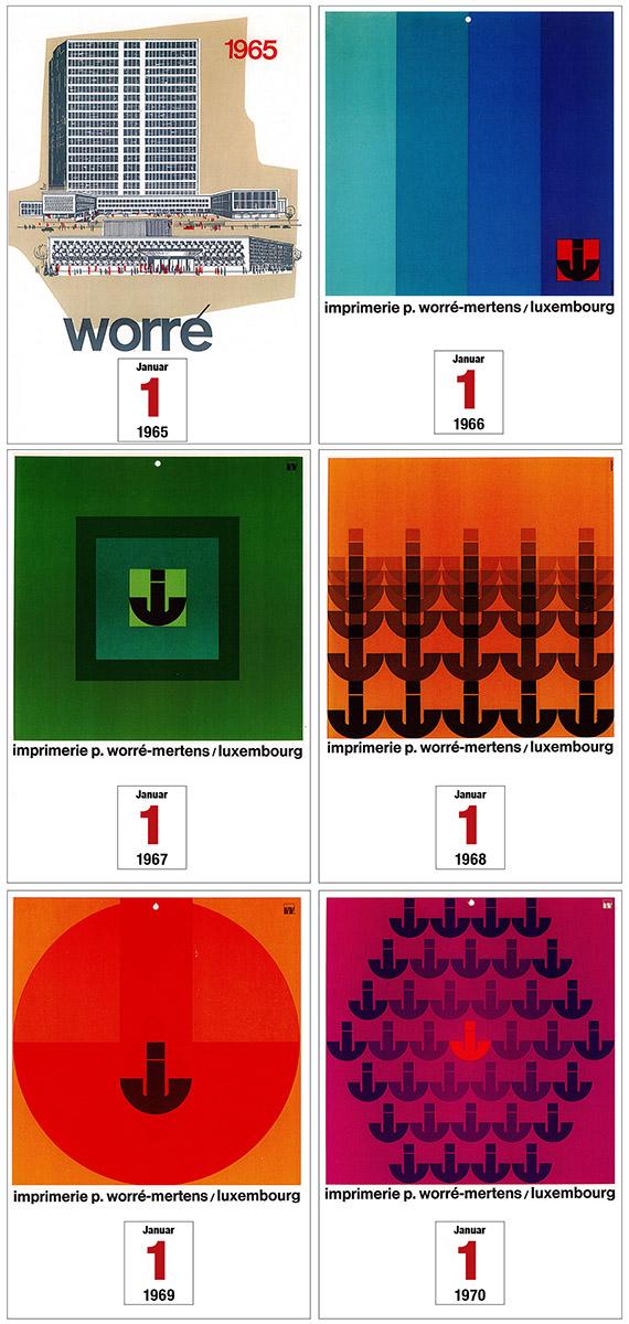 Calendriers imprimerie worré-mertens 1965-1970 Lex Weyer senior