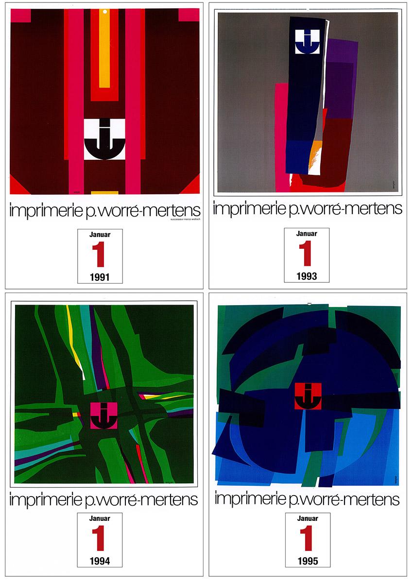 Calendriers pour l'imprimerie Worré-mertens 1971-1980