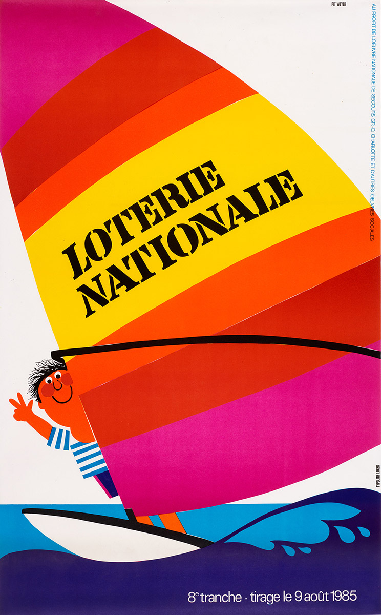 Affiche Loterie Nationale 1985 Pit Weyer
