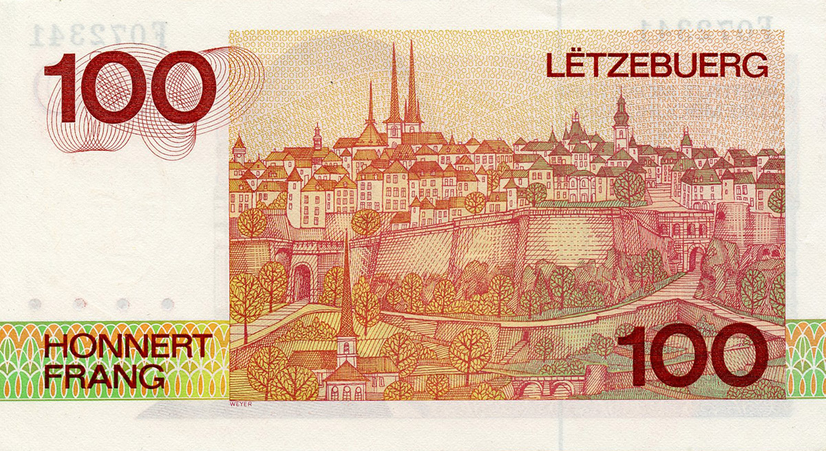 Billet de 100 francs luxembourgeois verso-illustration de Pit Weyer 1986