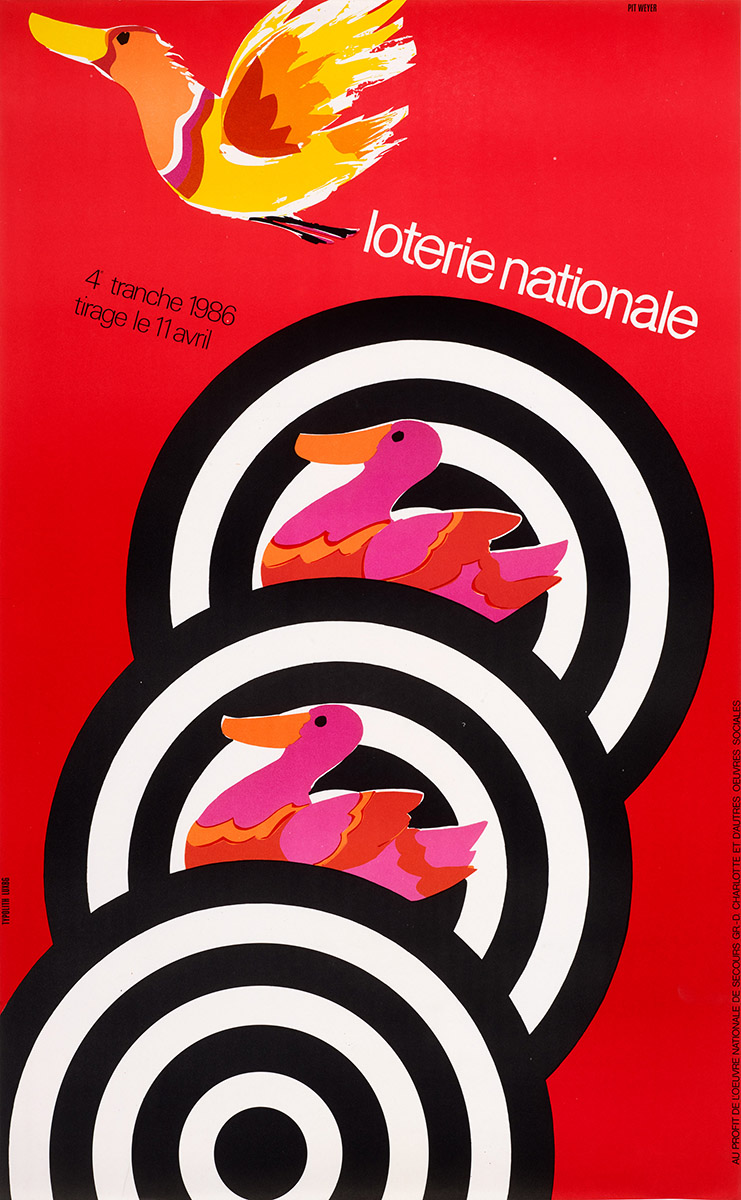 xAffiche Loterie Nationale 1986 Pit Weyer