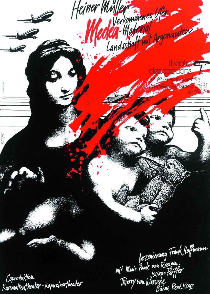 Affiche Plakat 1989 Medea-Material von Heiner Müller Plakat Pit Weyer
