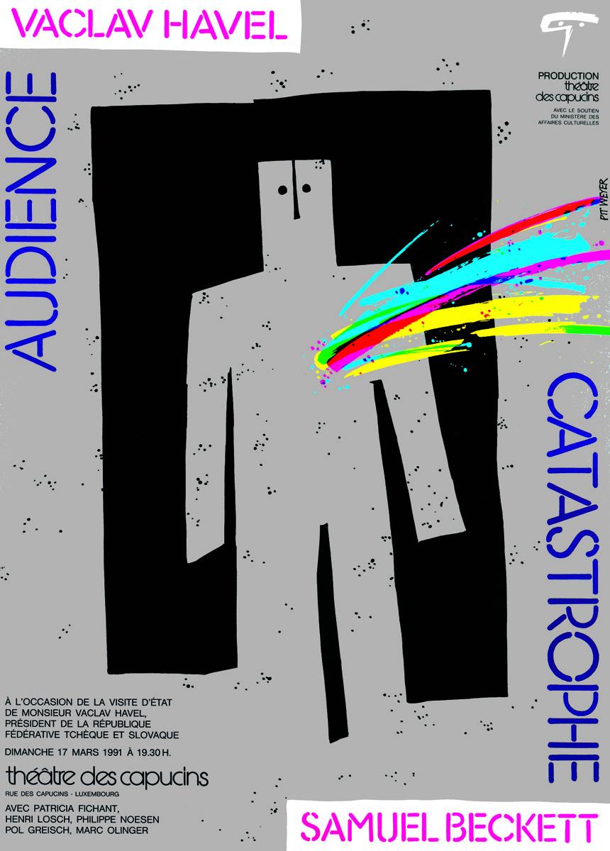 Affiche Théâtre des Capucins AUDIENCE de Vaclav Havel CATASTROPHE de Samuel Beckett 1991