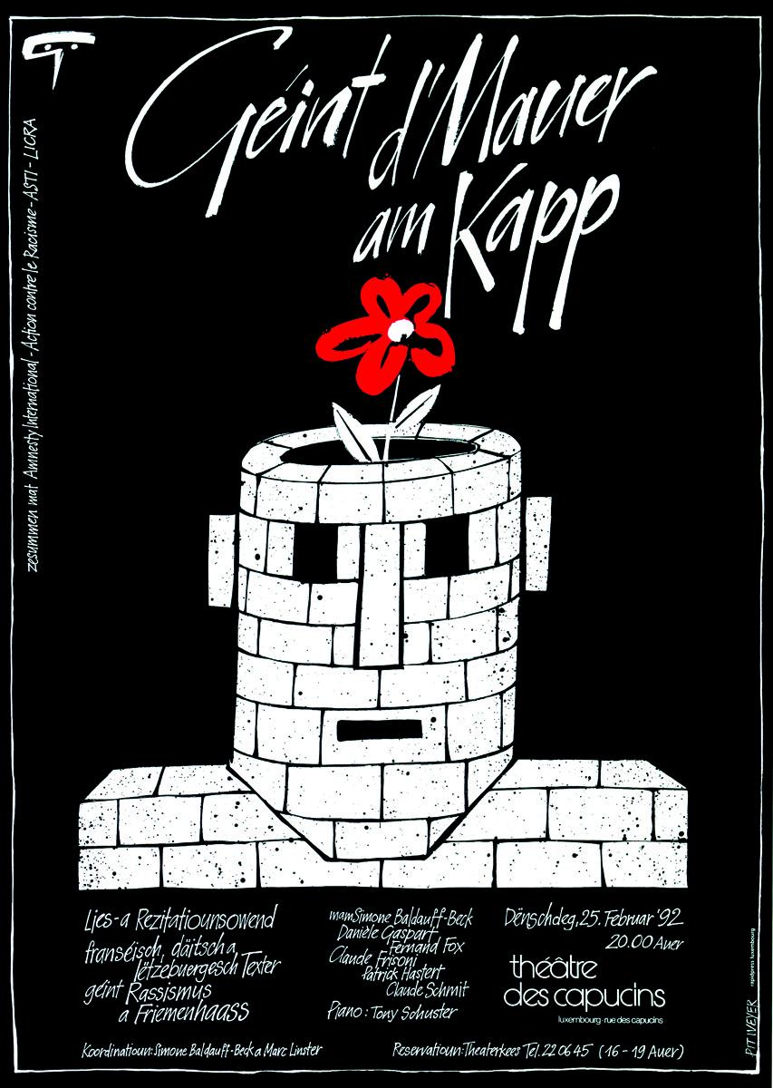 Affiche 1992 Géint d'Mauer am Kapp Théâtre des Capucins Pit Weyer