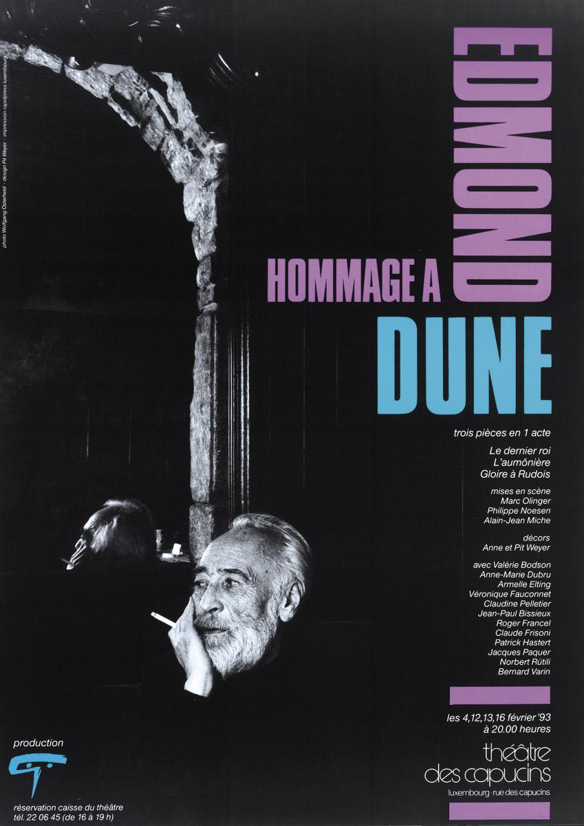 Affiche Hommage à Edmond Dune 1993 Théâtre des Capucins Pit Weyer