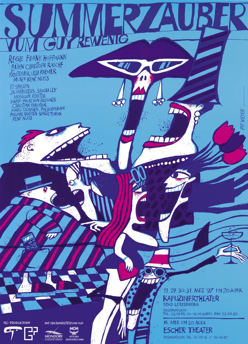 Affiche Summerzauber vum Guy Rewenig 1997 Théâtre des Capucins Escher Theater Pit Weyer