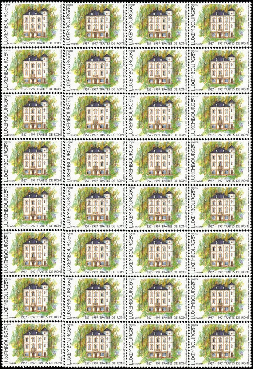 Timbre Luxembourg 1997 Traîtés de Rome 1957-1997 Pit Weyer